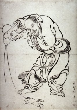 The Taoist Immortal Chokaro Producing a Horse from a Gourd, from a seriees in the Kano style
