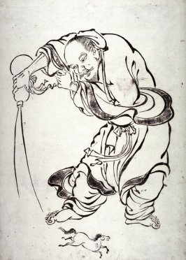 [The Taoist Immortal Chokaro (Chang Kuo) Producing a Horse from a Gourd, from a series in the Kano style
