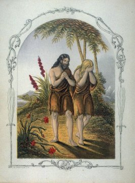Expulsion of Adam and Eve from Paradise, frontispiece in the book, The Book of Sunday Pictures for Little Children, Old Testament (London: The Religious Tract Society, undated)