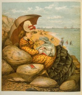 """Upon the Rocks Beside the Sea, first plate after page 3 of the story """"Baby"""" in the book The Henny-Penny Picture Book (London: George Routledge, [ca. 1870])"""