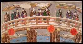 Snow in the Konan District of Osaka: Actors on the Tenjin Bridge over the Yodo River (Naniwa konan yuki no keishiki)