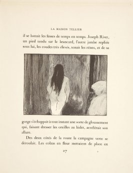 Illustration in the text for chapter 2, on page 27 in the book La maison Tellier by Guy de Maupassant (Paris: Ambroise Vollard, 1934)