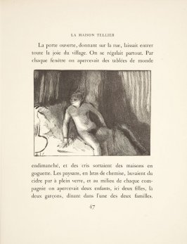 Illustration in the text for chapter 2, on page 47 in the book La maison Tellier by Guy de Maupassant (Paris: Ambroise Vollard, 1934)