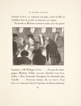 Illustration in the text for chapter 3, on page 61 in the book La maison Tellier by Guy de Maupassant (Paris: Ambroise Vollard, 1934)