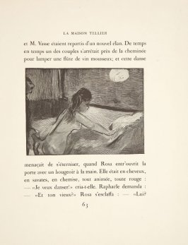 Illustration in the text for chapter 3, on page 63 in the book La maison Tellier by Guy de Maupassant (Paris: Ambroise Vollard, 1934)