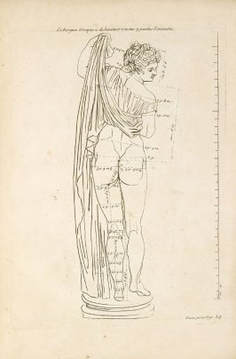 Plate 14 in the book Les Proportions du corps humain mesurées sur les plus belles figures de l'Antiquité (Paris: Girard Audran, 1683). [Bound with]: Sentimens des plus habiles peintres du temps sur la pratique de la peinture… (Paris: the author, 1680)
