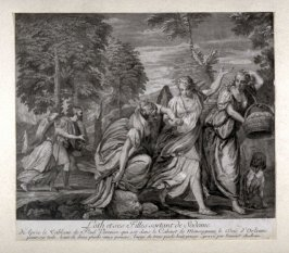 Lot and his daughters fleeing from Sodom