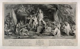 La Passion des Richesses expressed by the avaricious Satyrs in a satirical mood. (After Gillet)