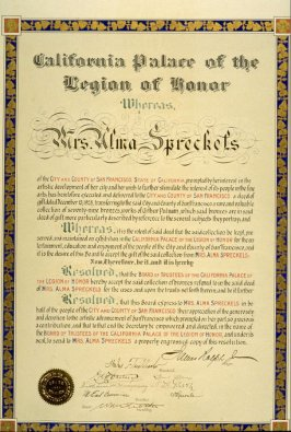 (Declaration of thanks to A. Spreckles for her bequest to the CPLH)