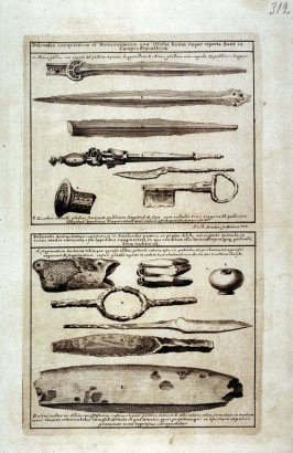 Primitive Tools and Ancient Weapons, from Suecia Antiqua et Hodierna (Ancient and Modern Sweden)
