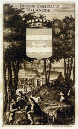 Coat of Arms Nylandia, from Suecia Antiqua et Hodierna (Ancient and Modern Sweden)