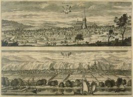 Views of Ekesio and Grena, from Suecia Antiqua et Hodierna (Ancient and Modern Sweden)