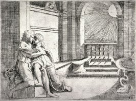 Abimelech Seeing His Wife Rebecca Caressed by Isaac, from the series of etchings Biblical Scenes, after the frescoes by Raphael in the Vatican Loggia