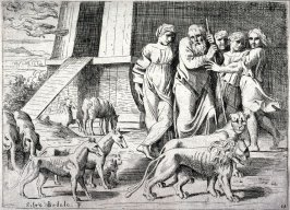 Noah Leaving the Ark, from the series of etchings Biblical Scenes, after the frescoes by Raphael in the Vatican Loggia