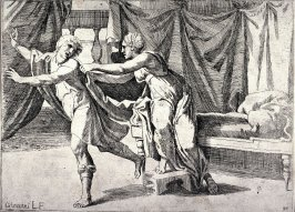 Joseph Escaping From Potiphar's Wife, from the series of etchings Biblical Scenes, after the frescoes by Raphael in the Vatican Loggia