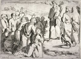 Moses Showing the Commandments to the People, from the series of etchings Biblical Scenes, after the frescoes by Raphael in the Vatican Loggia