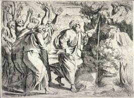 Moses Drawing Water From the Rock, from the series of etchings Biblical Scenes, after the frescoes by Raphael in the Vatican Loggia