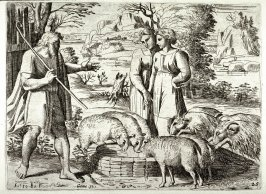 The Meeting of Jacob and Rachel at the Well, from the series of etchings Biblical Scenes, after the frescoes by Raphael in the Vatican Loggia