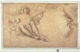 Recto: Angel Playing a Lute and Profile of a Child's Face