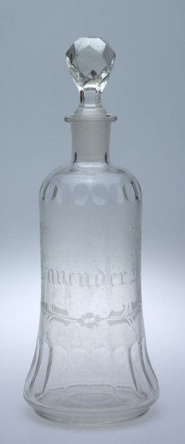 "Scent bottle with stopper, inscribed: ""Lavender"""