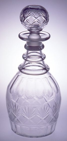 "Decanter and stopper ""Strawberry, Diamond and Fan"" pattern"