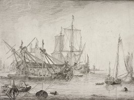 Harbour Scene With A Ship Careened