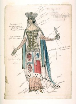 Costume design for the Wife of the Blue Bird in the drama La Pisanella ou la morte parfumée (Pisanella or The Perfumed Death)