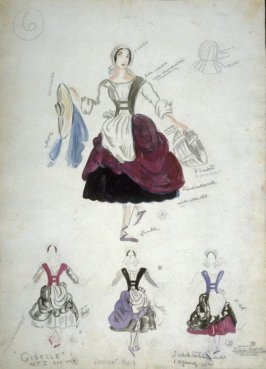 Costume Sketch for four Peasant Girls, Act I, Giselle