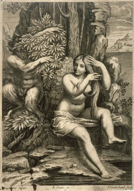 Nymph At Water's Edge Spied Upon By Satyr