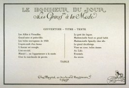 Table of contents for the set , Le Bonheur du Jour pour 1920 (Paris: Chez Meynial, 1924)