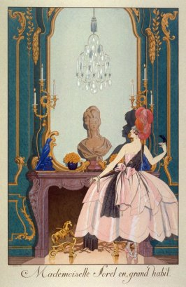 Mademoiselle Sorel en grand habit., pl. 10 from the set Le Bonheur du Jour pour 1920 (Paris: Chez Meynial, 1924)