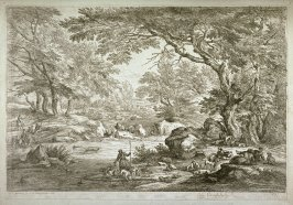 [Landscape with dogs and hunters]