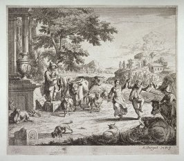 Peasants Dancing To Bagpipe Music In Landscape With Ruins And Animals