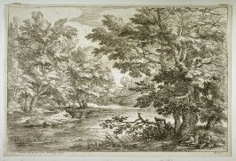 Landscape - Trees Surrounding A River, Two Men Resting In Foreground On Right