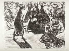 Das Paar in der Menge 2-Heiliger, Strohbraut und Lumpensack ( Couple in the Crowd 2-Saint, Straw Bride, and Ragbag), twenty-second plate from the portfolio volume of Der Arme Vetter (Berllin: Paul Cassirer, 1919)