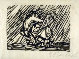 Wanderndes Paar im Regen (Wayfaring Couple in the Rain), plate 4 in the separate portfolio accompanying the book Der Findling (Berlin: Paul Cassirer, 1922)