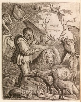 Frontispiece in the book Les fables d'Esope et de plusieurs autres excellens mythologistes (Aesop's Fables and Many Other Excellent Mythgs) (Amsterdam: Etienne Roger 1714) )