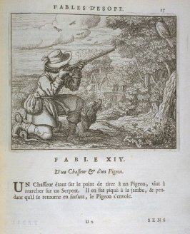 Illustration for the fourteenth fable on page 27 in the book Les fables d'Esope et de plusieurs autres excellens mythologistes (Amsterdam: Etienne Roger 1714)