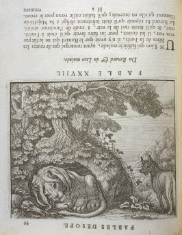 Illustration for the twenty-eighth fable on page 59 in the book Les fables d'Esope et de plusieurs autres excellens mythologistes (Amsterdam: Etienne Roger 1714)