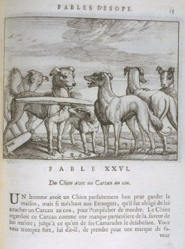 Illustration for the twenty-sixth fable on page 55 in the book Les fables d'Esope et de plusieurs autres excellens mythologistes (Amsterdam: Etienne Roger 1714)