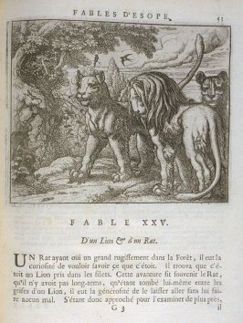 Illustration for the twenty-fifth fable on page 53 in the book Les fables d'Esope et de plusieurs autres excellens mythologistes (Amsterdam: Etienne Roger 1714)