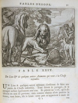 Illustration for the twenty-fourth fable on page 51 in the book Les fables d'Esope et de plusieurs autres excellens mythologistes (Amsterdam: Etienne Roger 1714)