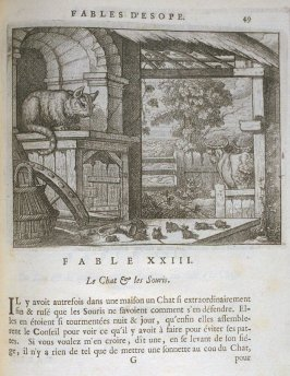 Illustration for the twenty-third fable on page 49 in the book Les fables d'Esope et de plusieurs autres excellens mythologistes (Amsterdam: Etienne Roger 1714)