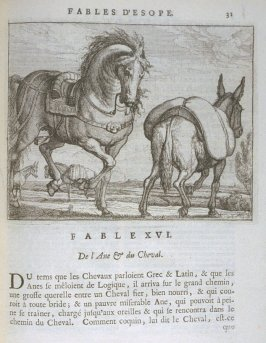 Illustration for the sixteenth fable on page31 in the book Les fables d'Esope et de plusieurs autres excellens mythologistes (Amsterdam: Etienne Roger 1714)
