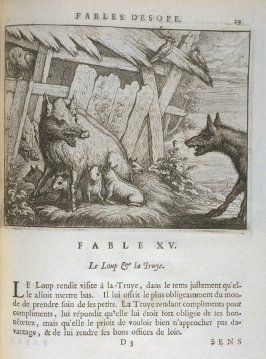 Illustration for the fifteenth fable on page29 in the book Les fables d'Esope et de plusieurs autres excellens mythologistes (Amsterdam: Etienne Roger 1714)