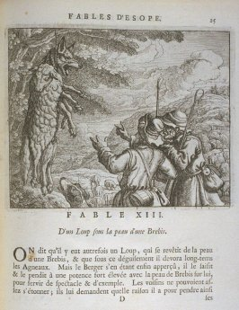 Illustration for the thirteenth fable on page25 in the book Les fables d'Esope et de plusieurs autres excellens mythologistes (Amsterdam: Etienne Roger 1714)