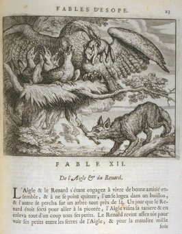 Illustration for the twelfth fable on page23 in the book Les fables d'Esope et de plusieurs autres excellens mythologistes (Amsterdam: Etienne Roger 1714)