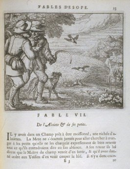 Illustration for the seventh fable on page13 in the book Les fables d'Esope et de plusieurs autres excellens mythologistes (Amsterdam: Etienne Roger 1714)
