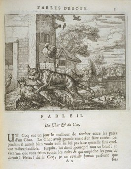 Illustration for the second fable on page 3 in the book Les fables d'Esope et de plusieurs autres excellens mythologistes (Amsterdam: Etienne Roger 1714 )