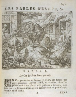 Illustration for the first fable on page 1 in the book Les fables d'Esope et de plusieurs autres excellens mythologistes (Amsterdam: Etienne Roger 1714)